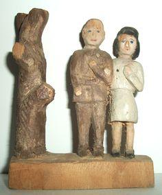 Vintage Folk Art Sculpture Carving  (From one block of wood)  collection Jim Linderman Dull Tool Dim Bulb #antiqueamericanfolkart  #folkart