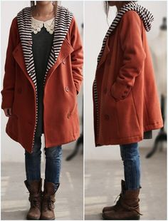 Hearts/ autumn cotton double breasted hooded coat by MaLieb, $98.00