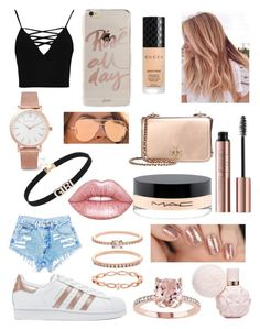"""Rose Gold"" by gervaise-kelly on Polyvore featuring Sonix, Larsson & Jennings, Boohoo, Gucci, MAC Cosmetics, Accessorize, adidas Originals, Lime Crime, Quay and Tory Burch"