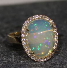 Natural Ethiopian Opal Ring 14 K Gold w/ Diamonds Gemstone Jewelry Video #1256 #Handmade #SolitairewithAccents