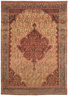 MISHIN MALAYER, Northwest Persian, 4ft 7in x 6ft 4in, Late 19th Century. A finely woven Persian Mishin Malayer rug, this antique Oriental rug is distinguished by its captivating range of naturally dyed sky blues in the border and its winsome field design.