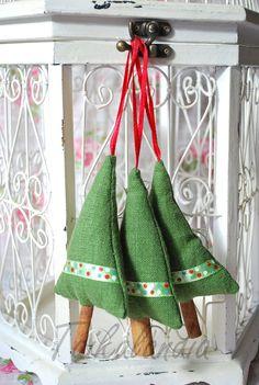 Rustic Christmas Decorations, Green Linen Cinnamon Trees, Christmas Tree Ornament