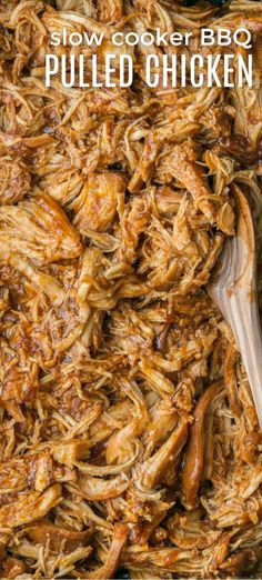Crockpot BBQ Chicken - The Best Slow Cooker Pulled Chicken! Fall-apart tender chicken, juicy and delicious! #chicken #slowcookerchicken #crockpotchicken #crockpot #meat #slowcooker #natashaskitchen #crockpotbbqchicken
