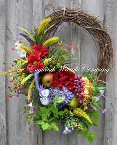 Summer Wreath Tuscany Floral Wreath Country by NewEnglandWreath, $199.00