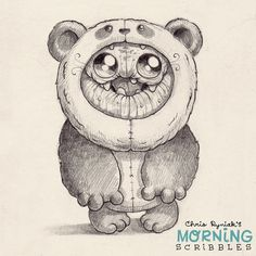 Cute monters. Chris Ryniak   Panda suit! #morningscribbles