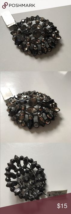 Chico's Harper Pin New with tags.  Black tone metal and different shades of black and grey crystals.  Very pretty.  About 2.5 inches across. Chico's Jewelry Brooches