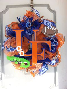 University of Florida Gators Football Deco Mesh Door Wreath on Etsy, $55.00
