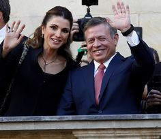 7 October 2016 - King Abdullah bin Al-Hussein receives Westphalian Peace Prize in Münster, Germany - jacket and trousers by Brandon Maxwell, bag by Louis Vuitton