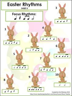 MUSIC: Easter Rhythm Activities. 12 pg. PDF file.  $ Music Math, Preschool Music, Music Activities, Music Classroom, Teaching Music, Music Teachers, Music Games, Music Lessons For Kids, Music Lesson Plans