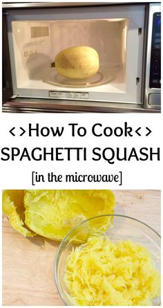 Learn how to cook spaghetti squash in the microwave in just three easy steps! Cutting and seeding the spaghetti squash happens after cooking. @MomNutrition