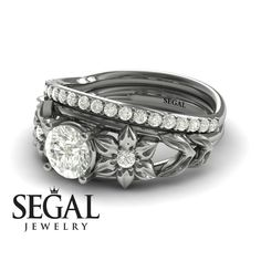 Bridal Set White Diamond rings by Segal Jewelry Unique Diamond Engagement Rings, Classic Engagement Rings, Engagement Ring Settings, Unique Rings, Diamond Rings, Engagement Jewelry, Black Diamond, Bridesmaid Jewelry Sets, Bridal Sets