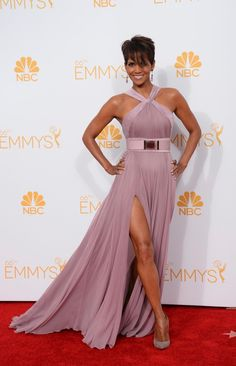 Halle Berry looked absolutely stunning as she graced the red carpet, but we wouldn't have expected anything less from the beautiful actress! Berry stunned in a pink Elie Saab dusty silk chiffon gown.