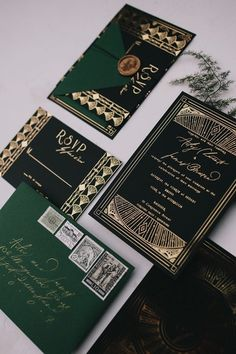 Emerald Art Deco Wedding Inspiration Emerald Art Deco Wedding Inspiration Vintage Art Deco emerald green, black and gold foil wedding invitation suite Foil Wedding Invitations, Country Wedding Invitations, Vintage Wedding Invitations, Wedding Invitation Wording, Wedding Stationery, Vintage Weddings, Black And Gold Invitations, Invitations Online, Invite