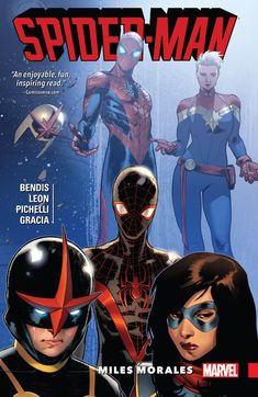 """Spider-Man: Miles Morales, Volume 2. """"Miles Morales has only been in the Marvel Universe a short time, and now he's in the middle of a war! But as Marvel's heroes are torn apart by Civil War II, which side will Miles choose? Or can he and his Avengers friends Nova and Ms. Marvel find their own way? Things really get complicated when the clairvoyant inhuman Ulysses has a vision that puts Miles at the top of the most-wanted list!"""""""
