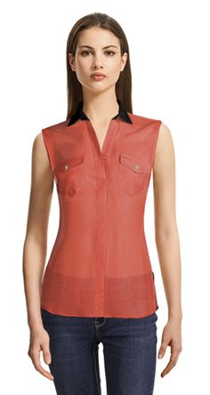 Coral sleeveless blouse with black details and 2 pockets International Fashion, New Trends, Suits For Women, Sleeveless Blouse, Your Style, Shirt Dress, Female, Womens Fashion, Casual