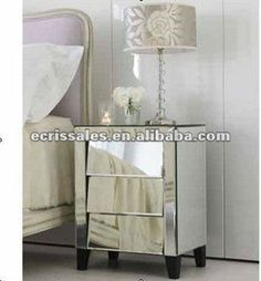 Antique Mirrored Furniture,glass Mirrored Bedside Table,drawers Of Console  Table