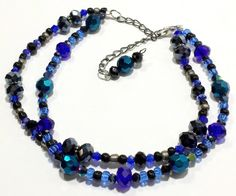 Ankle Bracelet. Blue, Black and Silver beads Beautiful and Exceptionally Pretty Anklet with extension chain for multiple lengths.