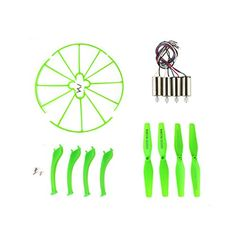 Coolplay Syma X5HC X5HW Spare Parts Motors  Main Propellers  Protective Propeller Guard  Landing Skid Included Mounting Screws for RC Mini Quadcopter Toy Green *** See this great product.