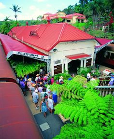 Kuranda Railway Station, far North Queensland. A quaint old station and a fabulous train trip through the tropical ranges. Australia Living, Queensland Australia, Australia Travel, Beautiful Places To Visit, Great Places, Places To Go, Amazing Places, Old Train Station, Train Stations