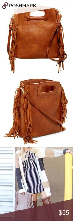 "🌺🍁NEW!! Brown Fringe Handbag Adorable chestnut brown fringe convertible handbag with dual top handles and adjustable detachable shoulder strap.   Additional details: Top zip closure Interior zip pocket and 2 slip pockets Approx. 10""H x 11""W x 4""D Approx. 23"" strap drop Detachable shoulder strap can be worn as crossbody PU exterior, fabric lining  Bundle 3 or more items and save 15%😊🎉🛍 Pink Haley Bags"