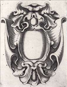 Johannes Lutma the Elder, Cartouche in auricular style, from from Festivitates Aurifabris, Amsterdam, 1654. Etching. The organic shapes reflect the influence of anatomical study and the interest in exotic creatures such as sting rays. Two monstrous masks seem to emerge on the top and bottom of the cartouche. Designs like this one worked well on paper, but were also executed in silver, wood, and stone.