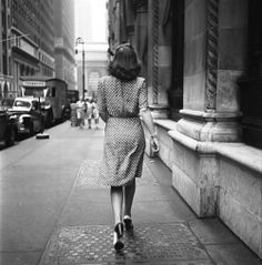 Walking away on the streets of New York, 1946,...