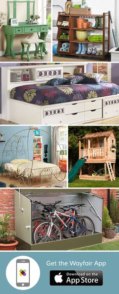Keep your home fun and mess-free! A playhouse can be the perfect backyard update while dual-purpose pieces like storage daybeds make it easy to corral clutter. Download the free Wayfair app to access exclusive deals everyday up to 70% off. Free shipping on all orders over $49.