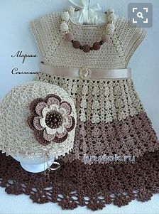 Hat and sundress for girls - works Marina Stoyakin knitting and crochet scheme This hint of crafts is great for anyone who wants to learn new steps crochet and market products. Learn how to make this cro. Crochet Patterns Dress A hat and a sarafan for a g Crochet Dress Girl, Baby Girl Crochet, Crochet Baby Clothes, Crochet For Kids, Knit Crochet, Crochet Hats, Crochet Dresses, Crochet Summer, Baby Clothes Patterns