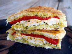 Pesto Chicken Panini with fresh mozzarella and roasted red peppers.