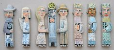 CERAMIC RELIEF - 8 NATIVITY FIGURES - HILKE MACINTYRE - please click on image for bigger picture