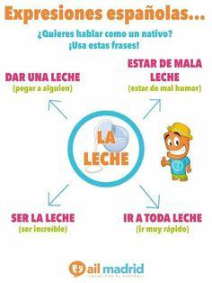 Expresiones con la palabra LECHE. Uitdrukkingen met het woord LECHE