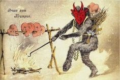 """The Krampus is an old European Christmas tradition, in which Santa had a devilish sidekick, the """"Krampus"""", who would punish the naughty children, ofttimes in horrific ways. Description from pinterest.com. I searched for this on bing.com/images"""
