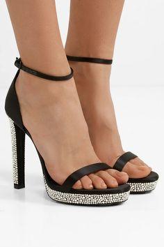025c4a760 Saint Laurent - Hall crystal-embellished satin platform sandals