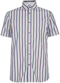 Blue Harbour Pure Cotton Tailored Fit Short Sleeve Varied Striped Shirt. £24 39% OFF!