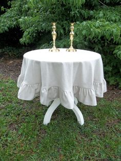 READY to SHIP Round Tablecloth Ruffled Handmade by misshettie, $55.00