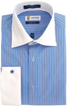 Labiyeur Men/'s Slim Fit French Cuff Checkered Dress Shirt Gingham Blue//White
