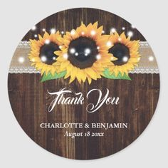 Rustic Thank You Sunflower Floral Wedding Classic Round Sticker wedding sress, distillery wedding, jana kramer wedding #weddingplanning #weddingtime #weddinggift, christmas decorations, thanksgiving games for family fun, diy christmas decorations Wedding Thank You, Wedding Gifts, Jana Kramer Wedding, Diy Christmas, Christmas Decorations, Charlotte, Wedding Invitation Kits, Thanksgiving Games, Blue Wood