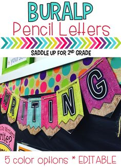 This is a set of colorful burlap pencil themed letters that are perfect for decorating your classroom and spicing up bulletin boards. There are 6 different colors (turquoise, pink, green, purple, yellow, and orange) with pre-made letters. There is also a blank set of each color that is editable so you can change the font and add text to meet your needs. I've also included 5 mixed color editable options for easy use for creating bulletin board headers. Directions for the editable file are…