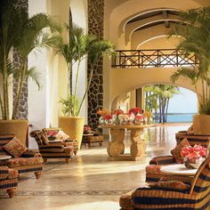 Hotel lobby welcome at the le saint geran hotel Mauritius