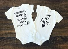 Twins Pregnancy Announcement | Twins Outfits | Twins Bodysuits | Gift for Twins | Baby Arrival | Baby Shower Gift | Baby BodySuit | Miracle