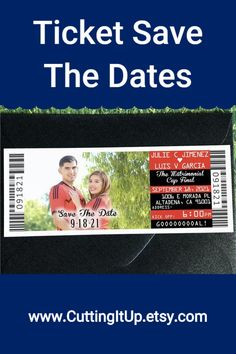 Invite your guests to your Soccer, Sports, Nautical or Movie themed wedding with Ticket Save the Dates! Ticket Invitation, Invite, Invitations, Football Wedding, Wedding Reception, Wedding Ideas, Soccer Sports, Themed Weddings, Save The Date