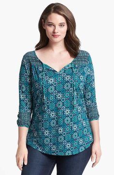 Lucky Brand 'Folklore' Mixed Print Top (Plus Size) Casual Outfits, Fashion Outfits, Short Tops, Plus Size Blouses, Dress Patterns, Sewing Patterns, Plus Size Women, Blouse Designs, Plus Size Outfits