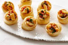 Chilli prawn vol-au-vents - Bite-sized spicy prawns are served in baked puff pastry. These morsels would be fantastic served as a starter with a glass of bubbly or white wine
