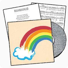 Kennen die Kinder schon alle Farben? Beim Regenbogenlied kann man viele davon hören. Und weil die Melodie so gut nachvollziehbar ist; schreibt doch mal eine eigene Strophe dazu. Im Unterrichtsmaterial gibt es eine Anleitung dazu.