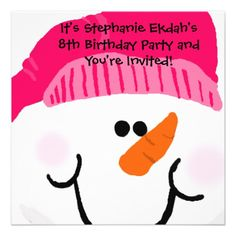 Pink Snowman Birthday invitations that can be used for birthdays, sledding parties, or festive holiday parties! Easy to customize with your party specifics, these colorful and cheery snowman theme party invitations are sure to be a hit! Holiday Party Invitation Template, Kids Birthday Party Invitations, Holiday Party Invitations, Photo Invitations, Pink Invitations, Custom Invitations, Invitations Online, Invitation Templates, Invites