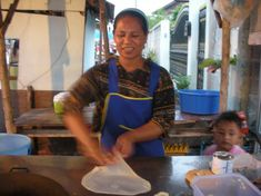 You may have heard of roti, they are similar to tortillas (flat bread) fried in margarine or clarified butter, flavored with all kinds of different things such as condensed milk, banana, chicken curry, raisins, etc. Roti vendors sell this in many Asian countries.