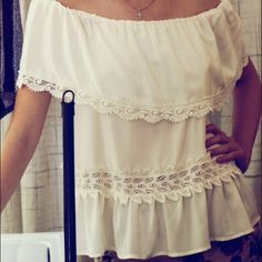 RARE STONE COLD FOX NEW MARITA BLOUSE Beautiful cream silk and lace-detailed, off the shoulder blouse. NEVER WORN. NWOT Stone Cold Fox Tops Blouses
