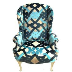 Walter Vintage Chair: a pièce de résistance for the living room. Classic vintage wing chair reupholstered with a gorgeous geometric velvet print.   The Divine Chair