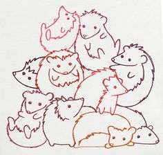 Pile o' Cute - Hedgehog Pile_image Cross Stitch Embroidery, Embroidery Patterns, Hand Embroidery, Machine Embroidery, Hedgehog Pet, Cute Hedgehog, Hedgehog Accessories, Urban Threads, Drawing Projects