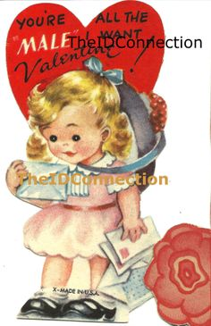 Vintage Valentine Digital Download, You're all the Male I want for Valentine, Retro 1950's Blonde Girl Valentines Day Card pure Americana